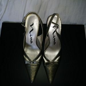 Nina Sling Back pointy toe pumps
